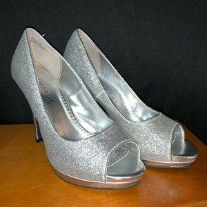 Silver glitter rampage heels